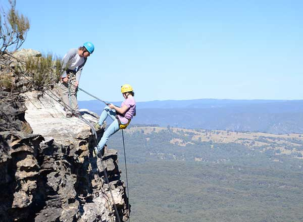 An adventure day absailing experience in the Blue Mountains private tour
