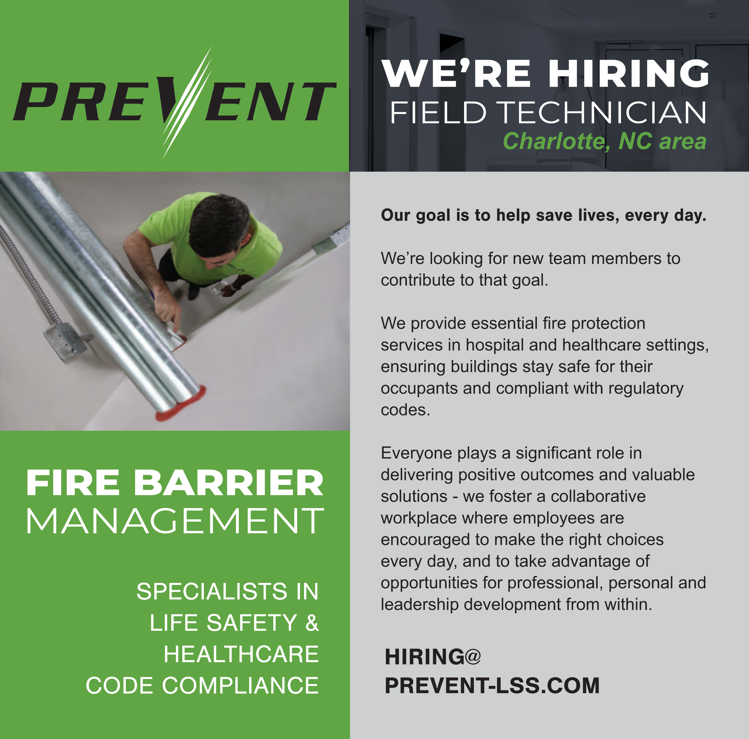PREVENT is hiring - Field Techs in Charlotte NC