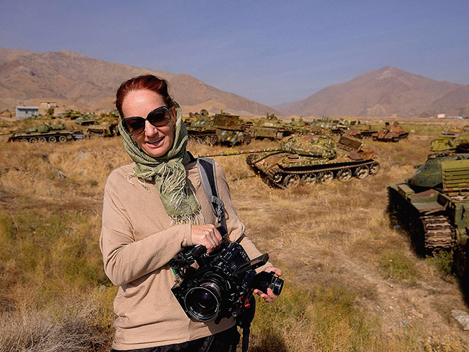Pietra Brettkelly in Afghanistan filming A Flickering Truth. Photo/ Jacob Bryant.