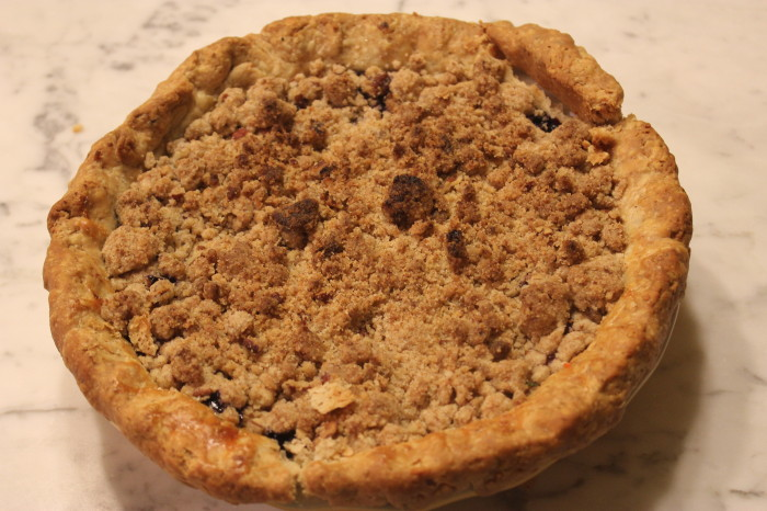 Blueberry Crumb Pie with Warm Blueberry Sauce from Carole Walter