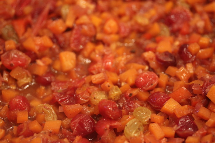 Suzen's Thanksgiving Chutney: Carrots, Raisins, Bell Pepper and Cranberries