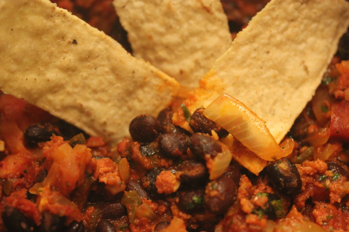 Spicy Black Bean Dip with Chorizo
