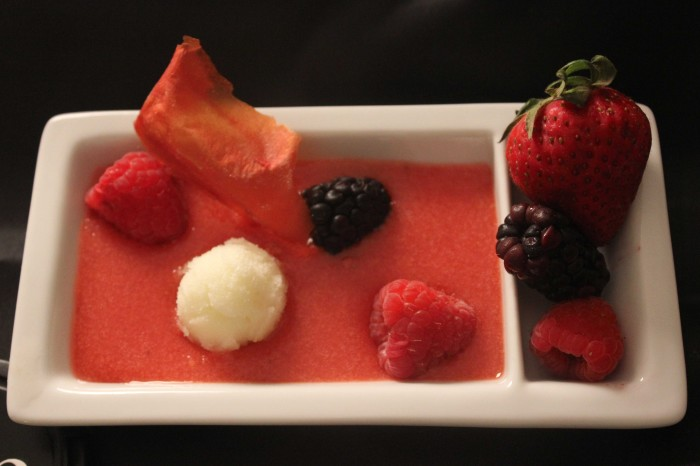 Red Berry and Tomato Gazpacho with Yellow Tomato Sorbet and Tomato Chips