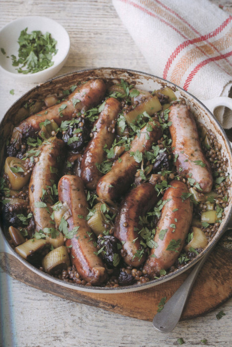 wc-Pork-Sausages-with-Prunes,-Guiness,-and-Lentils