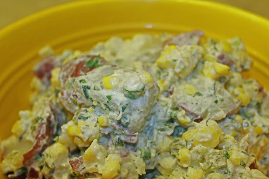 Grilled Corn and Poblano Potato Salad