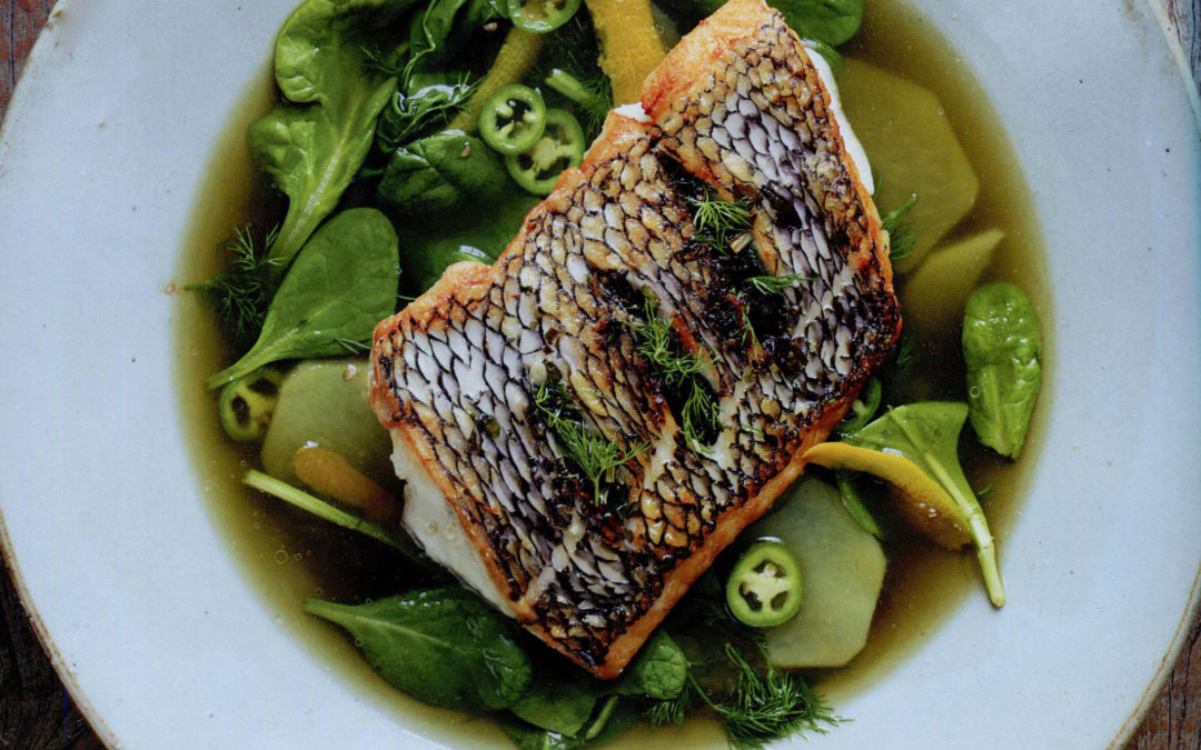 Herbed Sea Bass and Potatoes in Broth from Jean-Georges