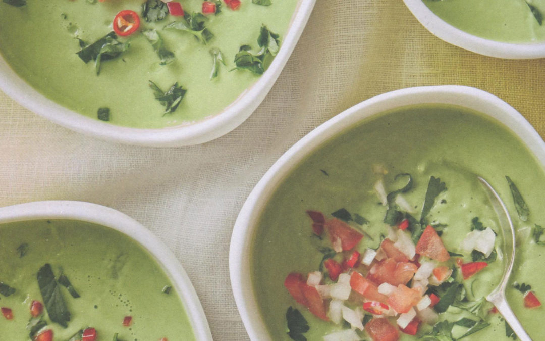 Chilled Avocado and Cucumber Soup from Leon Happy Soup