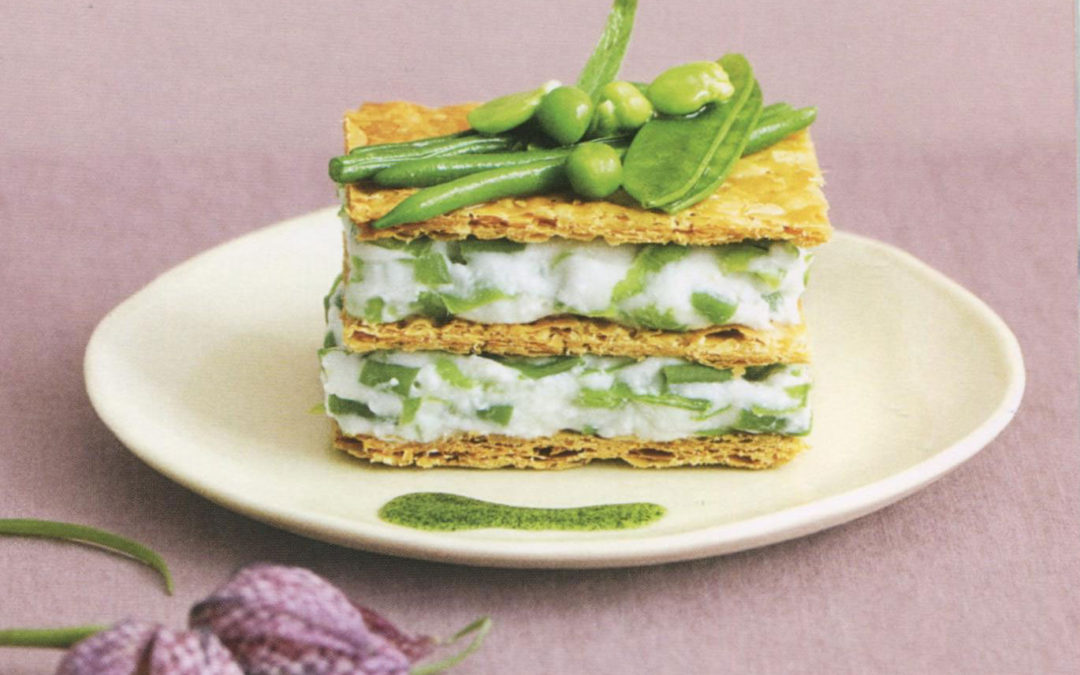 Goat Cheese and Green Vegetable Napoleon