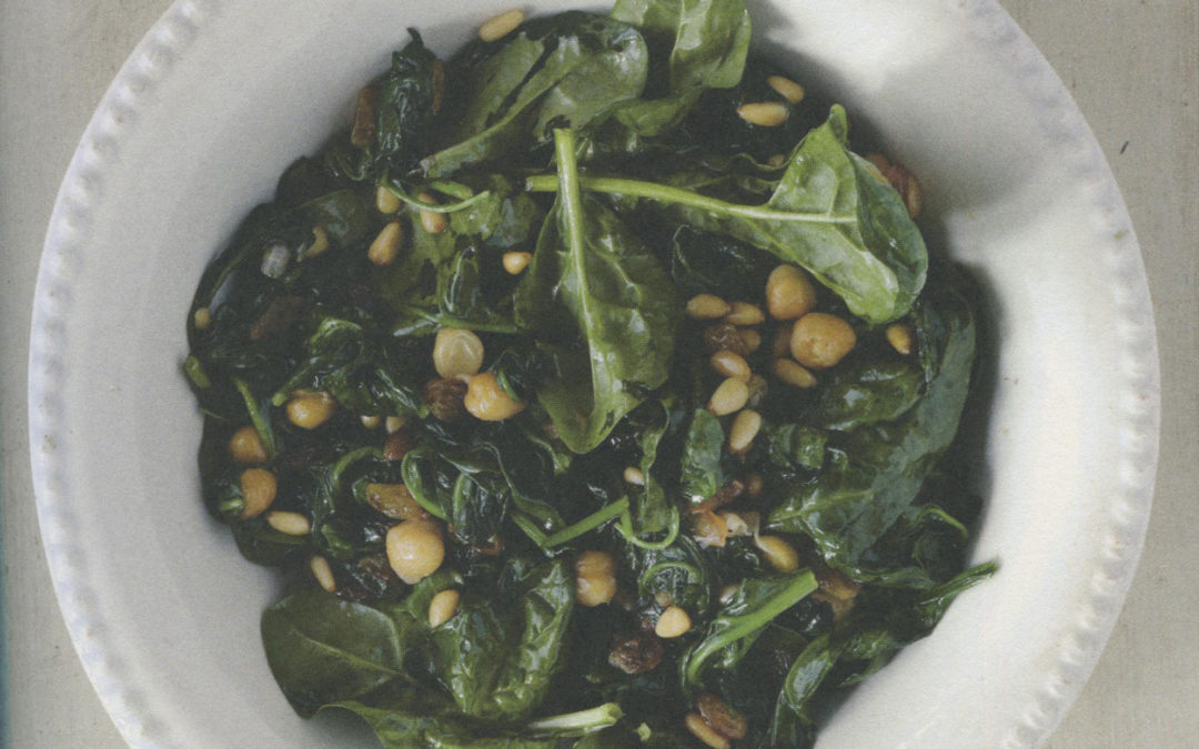 Spinach with Garbanzos, Raisins, and Pine Nuts from Boqueria