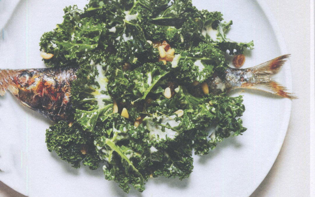 Sardines with Kale, Pine Nuts, and Raisins from Estella