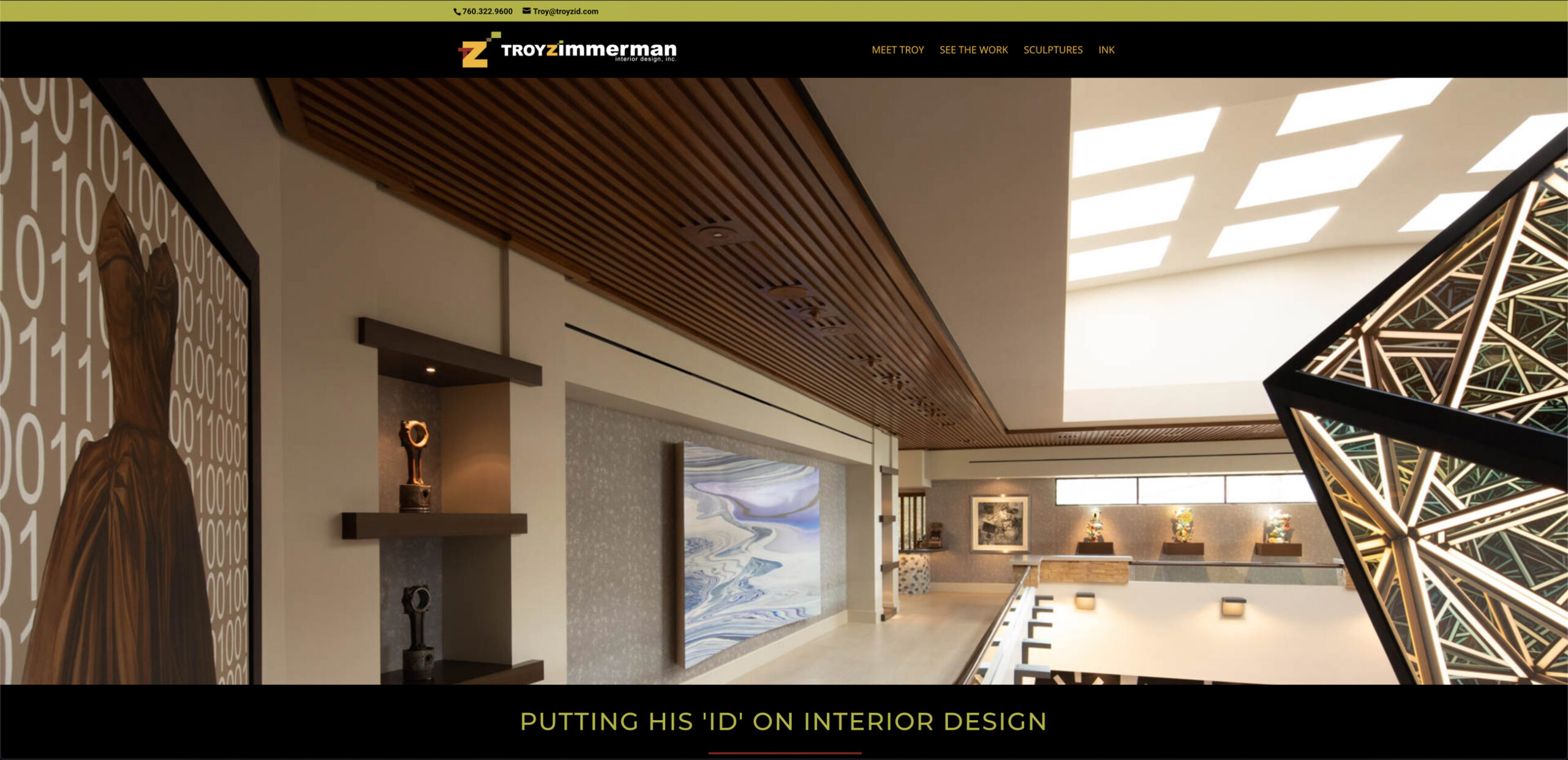 custom website design for troy zimmerman interior design by kaminsky productions