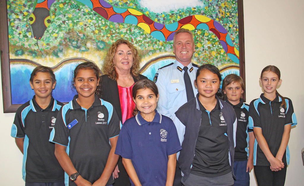 Medina Primary School's painting Waakal Kierp Wirrinity was a welcome addition to the new DFES South Coastal Regional office in Kwinana. Picture: Aiden Boyham