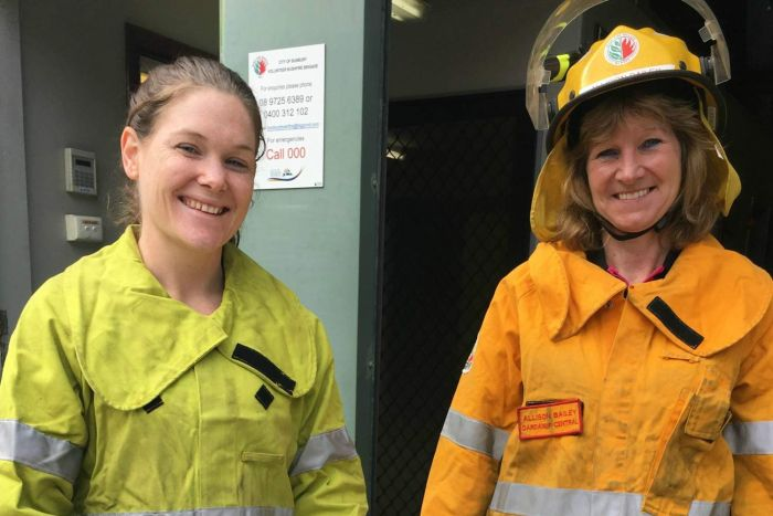 Rebecca Stokes of Bunbury Fire and Rescue Service and Alison Daley, First Lieutenant of the Dardanup Central Bushfire Brigade in Western Australia. (Babs McHugh)
