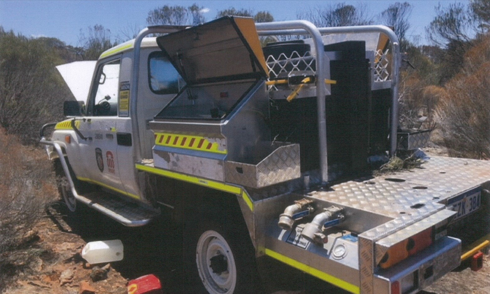 Torbay Tanker stolen. Photo from WAPOL as found in the bush
