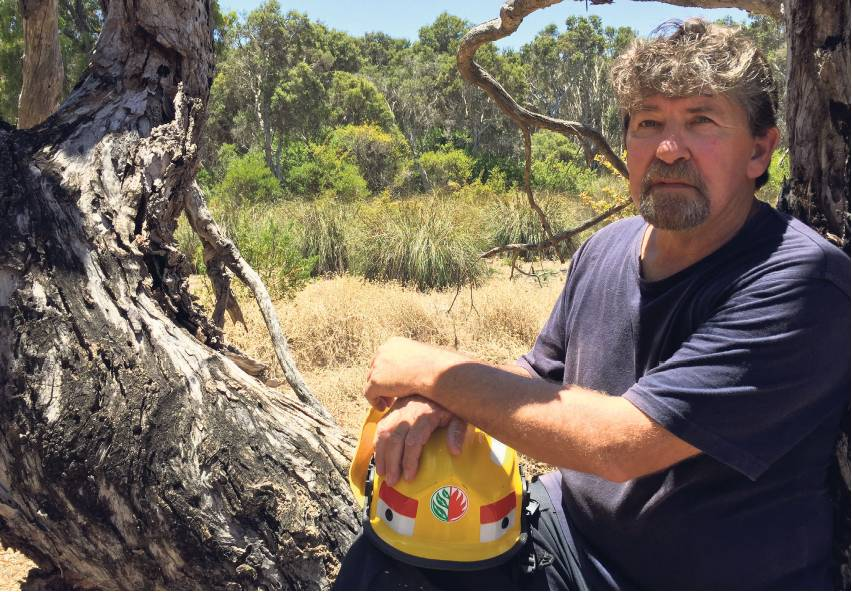 Preston Beach volunteer bushfire brigade captain Steve Thomas remembers the day when he was surrounded by flames. Picture: Steve Butler The West