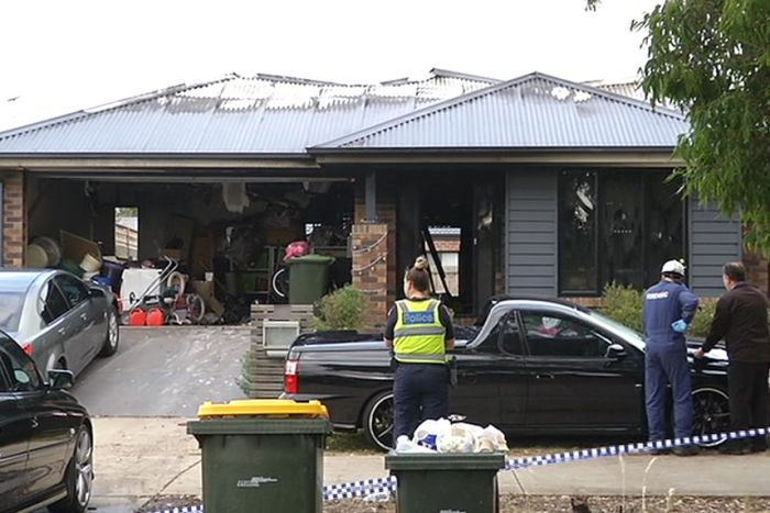 A woman died in this house fire at Armstrong Creek, Victoria. Photo ABC News