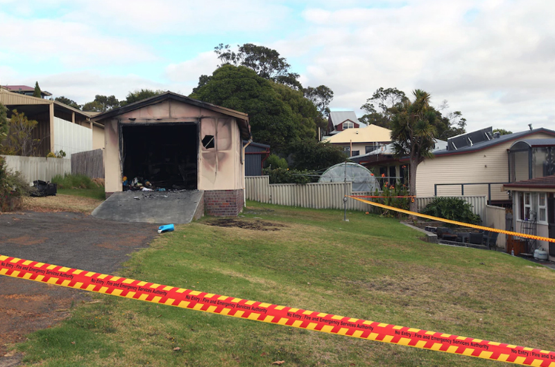 Shed fire on Melrose Street Sunday afternoon. Picture: Laurie Benson Albany AdvertiserPicture: Albany Advertiser