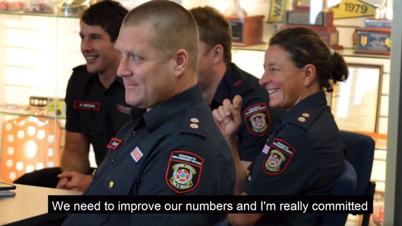 Emergency Services Minister Fran Logan, FES Commissioner Darren Klemm and DFES Career Station Officer Kim Lusk on IWD 2018