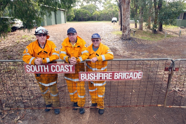 South Coast Bushfire Brigade volunteers David Wettenhall, Shane Duncan and Jeff Gibb. Picture: Laurie Benson Albany Advertiser Picture: Laurie Benson
