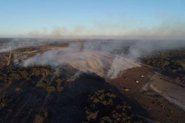 A private burn on a bluegum plantation briefly threatened lives and homes near Augusta this week after it got out of control. Photo ABC