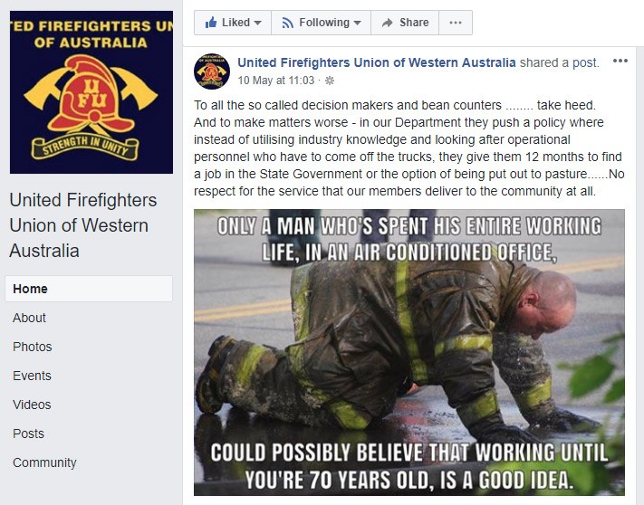United Firefighters Union Facebook post 10-05-2018