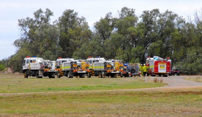 Emergency response units gathered at Geraldton Airport for the plane crash simulation held in 2012 (Photo CGG)