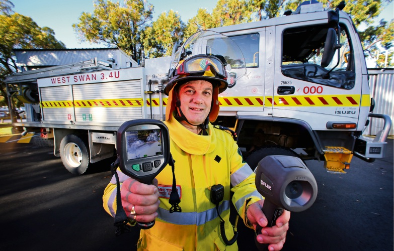 Mike Teraci (Senior Fire Control Officer) at the West Swan Fire Station with new FLIR Infrared heat cameras. The West Swan Fire Station received a grant recently to purchase FLIR cameras. Picture: David Baylis