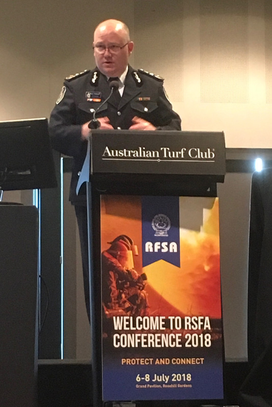 NSW RFS Commissioner Shane Fitzsimmons at the 2018 RFSA Conference in July