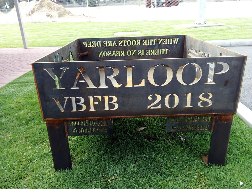 The awesome Fire Pit presented to the Yarloop Volunteer Bush Fire Brigade from the Myalup Volunteer Bush Fire Brigade