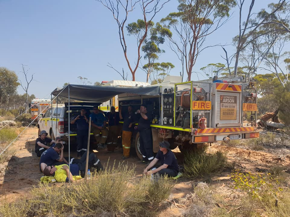 Members of the Gosnells Volunteer Bush Fire Brigade at the Esperance fires in WA in March