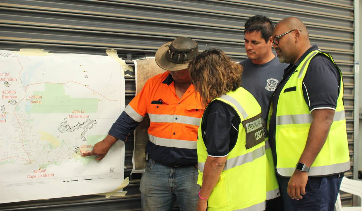 Esperance Tjaltjraak Native Title Aboriginal Corporation Senior cultural advisor Doc Reynolds, Aboriginal Advancement Unit manager Trish Wall, Aboriginal Liaison officer and career firefighter Shane Klunder and DFES Aboriginal Employment Development officer Grant Bobongie. Photo: Jesinta Burton.