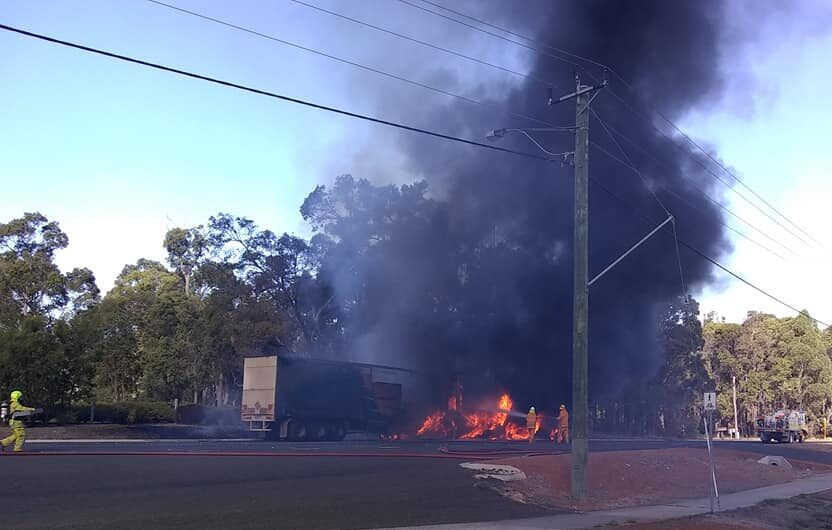 Kirup Brazier Volunteer Bush Fire Brigade and Donnybrook VFRS tackle a vehicle fire on the South Western Highway in Kirup on 24 March 2019