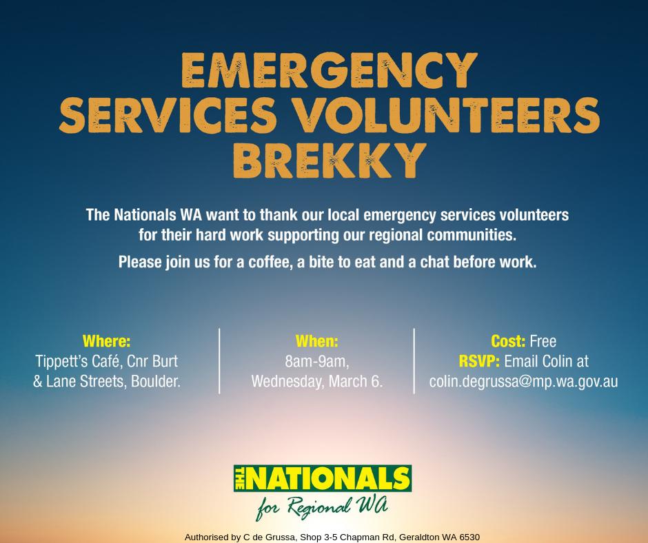 "Invitation to attend Nationals WA ""Emergency Services Volunteers Brekky"""