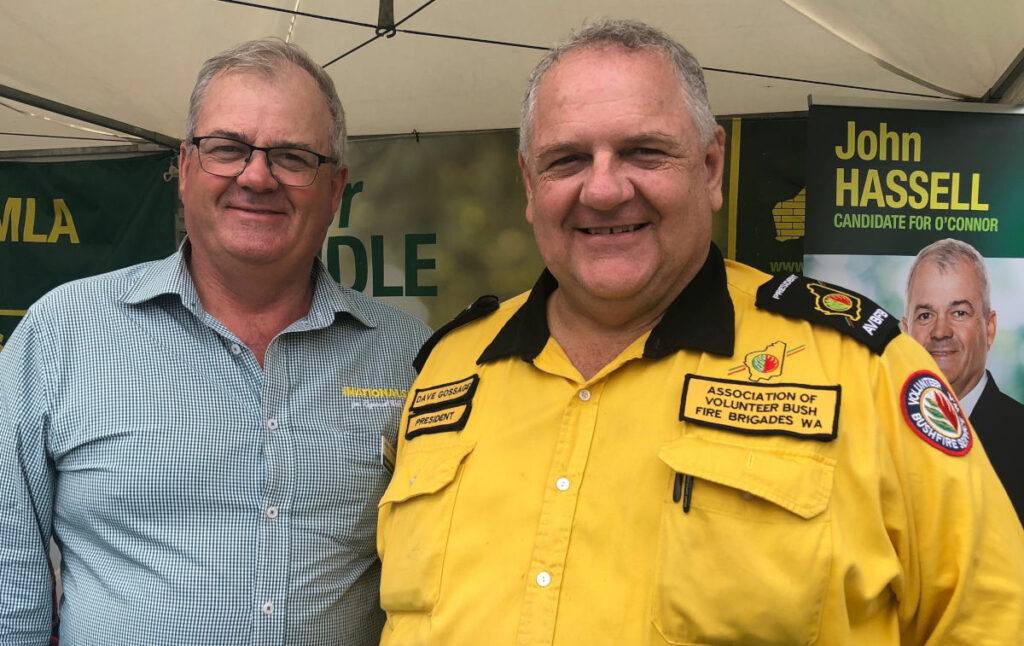 WA Nationals candidate for O'Connor John Hassell and AVBFB President Dave Gossage at Wagin Woolarama 9 March 2019