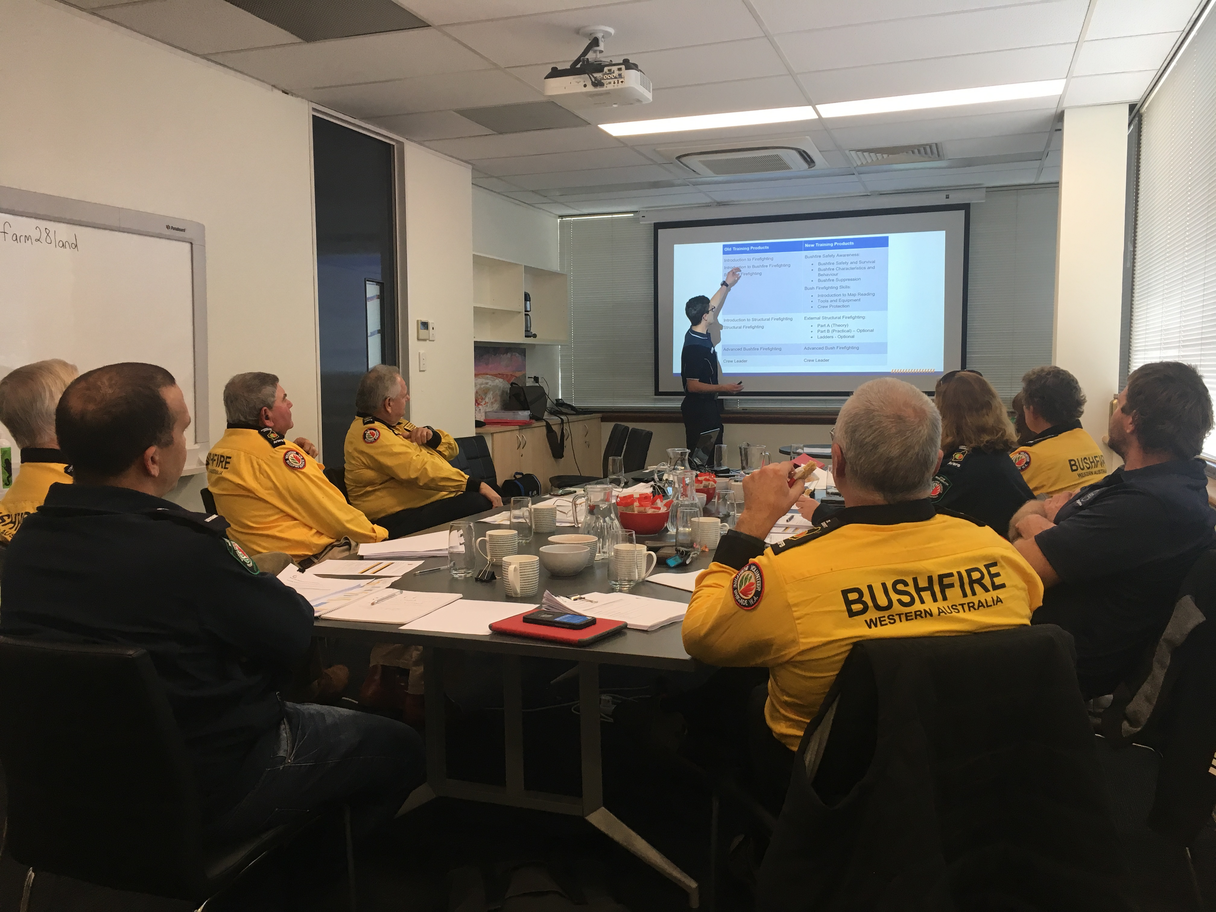 Department of Fire and Emergency Services (DFES) Bushfire Centre of Excellence (BCoE) Russel Wells discussing the future of WA Gov't bushfire training with the State Committee of the Association of Volunteer Bush Fire Brigades 15 June 2019