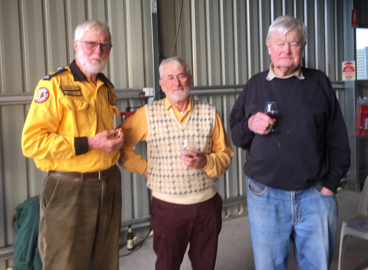 Hugh Browne, Gilbert Rowan Robinson and Sandy Bagshaw who were presented with 50 year service medals at the Maranup Volunteer Bush Fire Brigade, Bridgetown Western Australia.