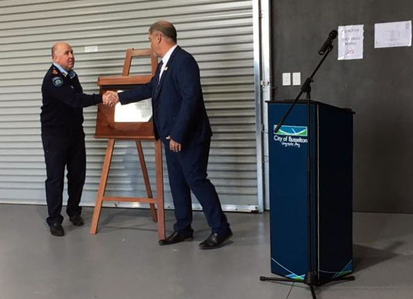 Plaque unveiled, Commissioner Darren Klemm & Grant Henley Mayor City of Busselton at the Ambergate Volunteer Bush Fire Brigade July 2019