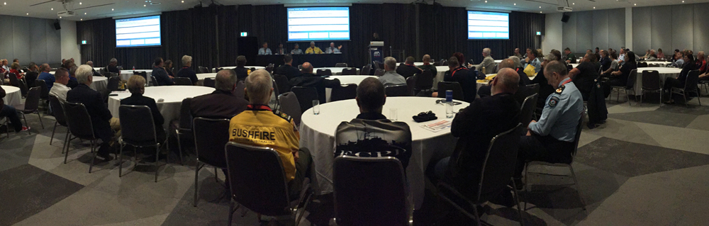 "Panel discussion at the 2019 WAFES Conference - ""What has been achieved since the Special Inquiry into the 2016 Waroona Fires (the Ferguson review)"" Participants included DFES's Craig Waters, Mal Cronstedt and Tim McNaught, DBCA's Stefan de Haan and Bushfire Volunteers' President Dave Gossage"