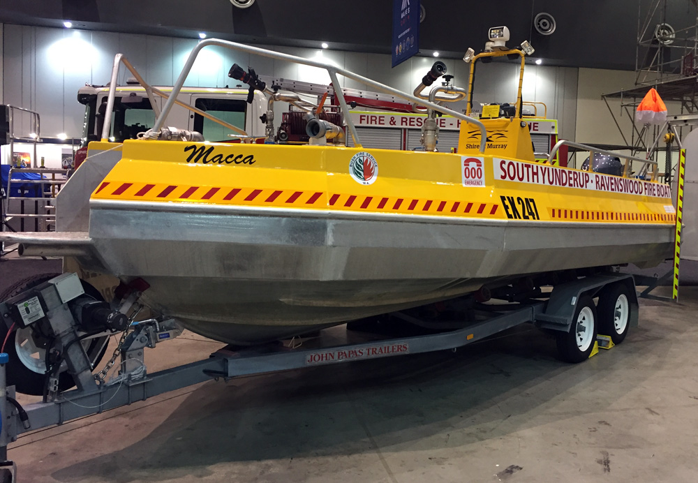 South Yunderup-Ravenswood Volunteer Bush Fire Brigade boat on display at the 2019 WAFES Conference at the Perth Convention and Exhibition Centre 6-8 September 2019