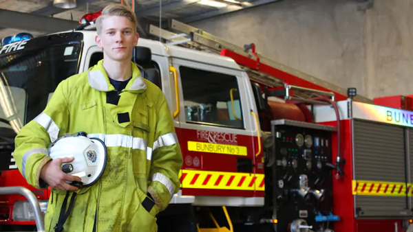 Bunbury Bushfire Brigade and Volunteer Fire and Rescue Service member Jarred Kowal won the Youth Achievement Award at the 2019 Firefighting Awards on Saturday night.Picture: Nicole Salmeri