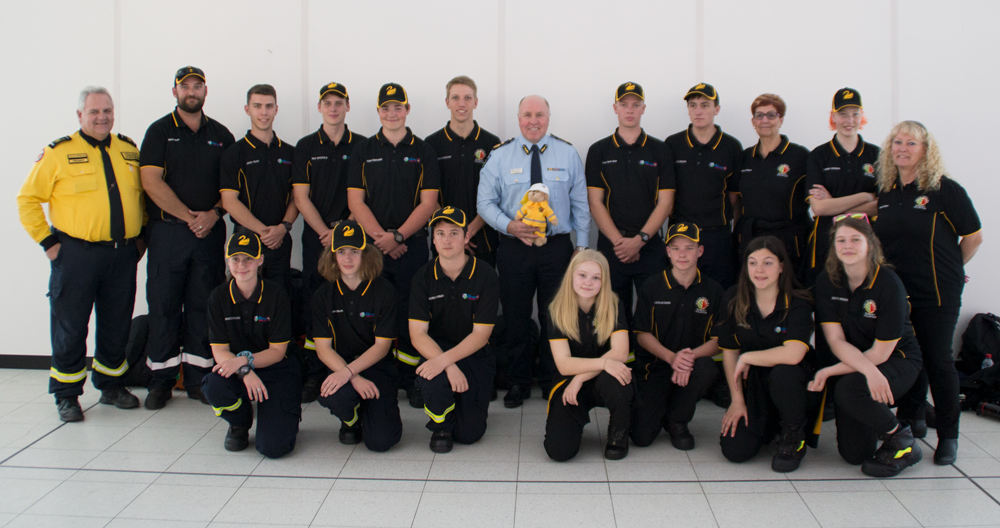Bunbury Volunteer Bush Fire Cadets and Waggrakine Volunteer Bush Fire Cadets at Perth Airport going to Australian Fire Cadet Championships in NSW 27-09-2019