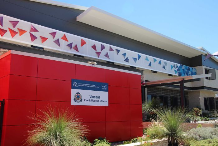 PHOTO: Vincent Fire Station's $51,500 art budget was funded by the WA's Emergency Services Levy. (ABC News: Rhiannon Shine)