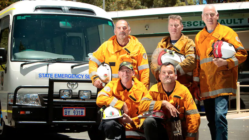 Harvey Shire volunteer firefighters Nick Madaffari, Robert Godfrey, Warwick Gunning, Jeremy Gunson and Paul Reynolds just got back from five days battling the Norsman blazes which have closed the Eyre Highway for a number of days. Credit: Shannon Verhagen