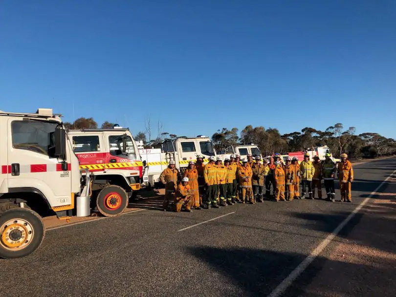 The team of volunteer firefighters from the South West who travelled to Norseman to help battle bushfires. Credit: South West Task Force Alpha