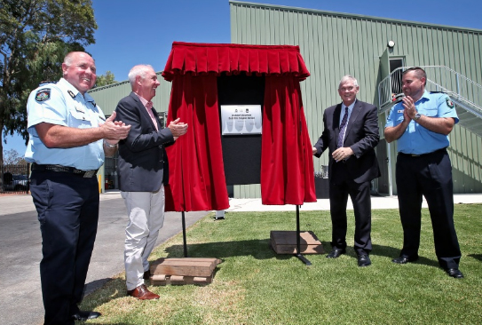 L-R: Darren Klemm (Commissioner, Fire and Emergency Services), Fran Logan (Minister for Emergency Services), Logan Howlett (Mayor, City of Cockburn) and Jarrad Fowler (Captain, Jandakot Volunteer Bush Fire Brigade), seen here unveiling the plaque at the opening of the Jandakot Volunteer Bush Fire Brigade Station. Picture: David Baylis.
