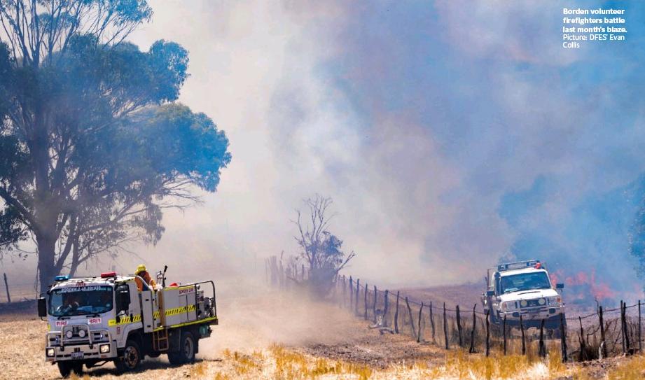 Borden volunteer firefighters battle last month's blaze Picture: DFES' Evan Collis