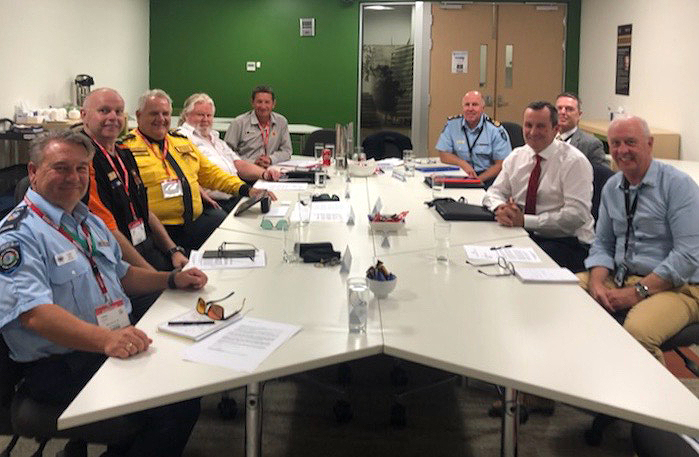 Premier Mark McGowan, Emergency Services Minister Fran Logan, Bushfire Volunteers President Dave Gossage and leaders of other volunteer associations January 2020