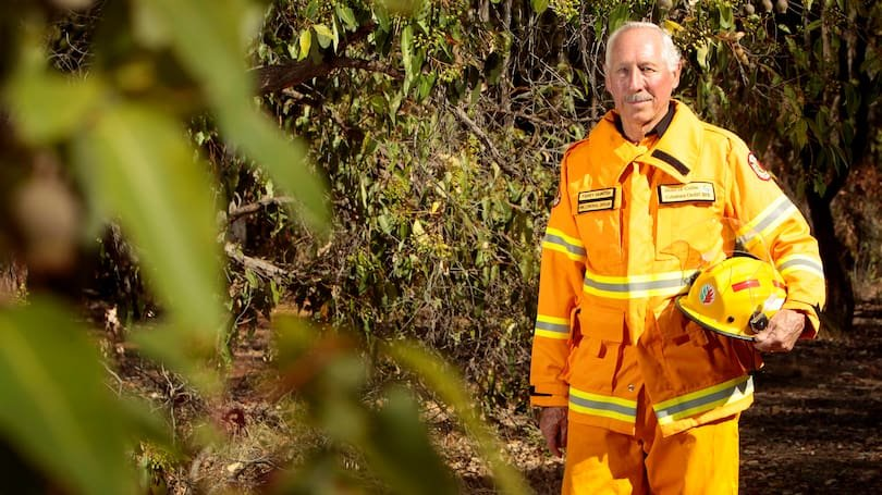 Volunteer Bushfire Brigade fire control officer Terry Hunter was awarded with a medal for 50 years of service at Collie's Australia Day Awards. Credit: Shannon Verhagen