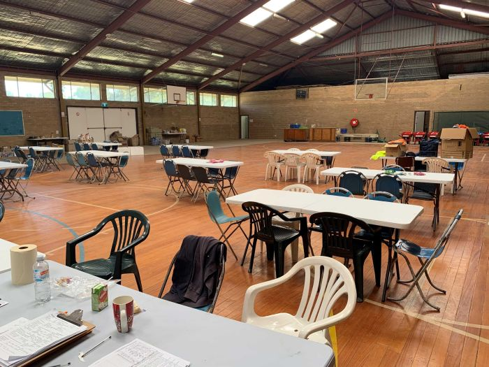 The camp has set up base inside the basketball stadium at the Tumbarumba showgrounds. (ABC Rural: Cara Jeffery)