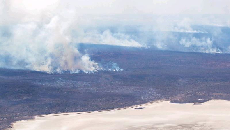 Bushfires near the Coolgardie-Esperance Highway near Norseman. Photo: Kalgoorlie Miner